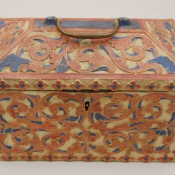jewelry box covered in shallow relief acanthus motifs front - decorative woodcarving