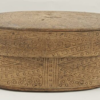 Oblong bentwood box with birch root side lacing Side - Decorative Woodcarving
