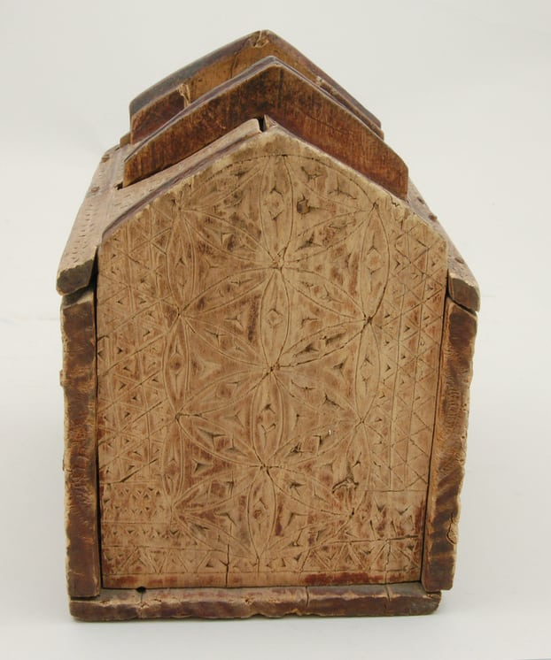 Chip carving on exterior house box side - Decorative Woodcarving