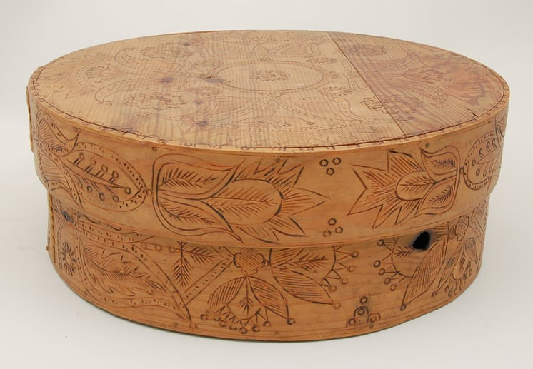 Bold stylized floral motifs burnt (pyrography) on cover and sides - Decorative Woodcarving