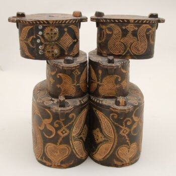 Double set of three tiered oval bentwood boxes right side - Decorative Woodcarving