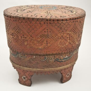 Stave constructed box with a bentwood band surrounding the lower half Front - Decorative Woodcarving
