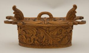 Bentwood box with low relief acanthus carving front - Decorative Woodcarving