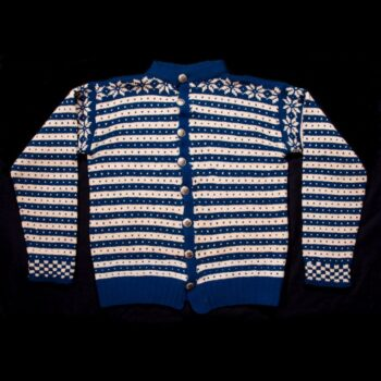 This hand-knit sweater, which is knitted in the Fana style, was worn by Odd Andersen - Textiles
