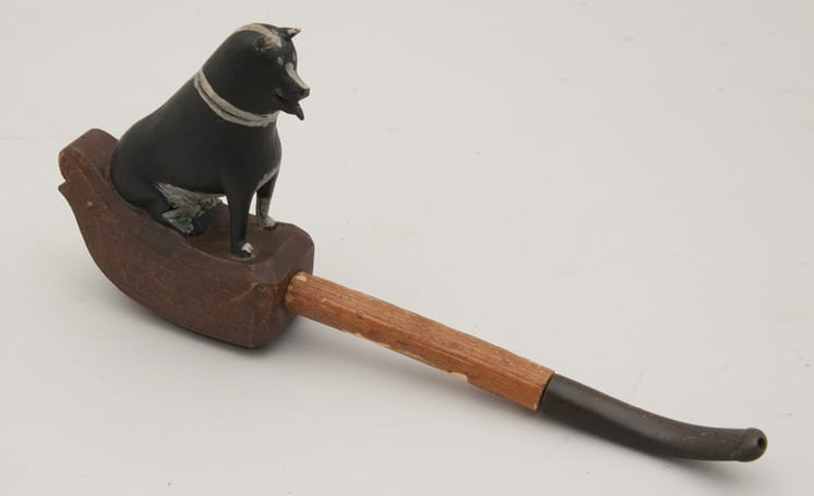 Homemade tobacco pipe with ebony mouthpiece attached to wood stem that fits into pipe bowl - Decorative Woodcarving