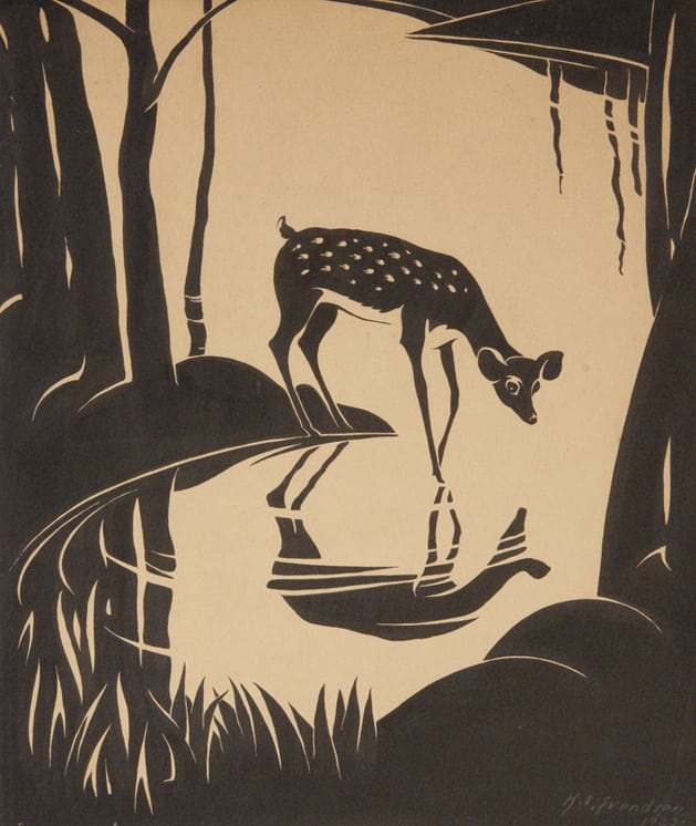 Drawing for Bambi Book, Knute Svendsen - Fine Arts
