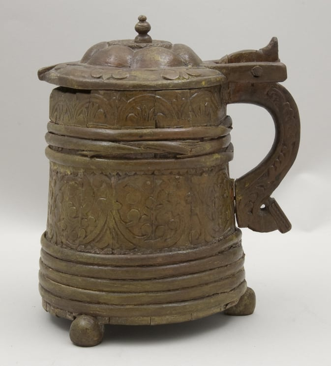 Stave constructed tankard with shallow relief carving side - Decorative Woodcarving