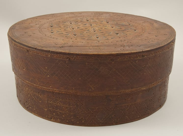 Bentwood box with chip carved, incised, and punched design Front - Decorative Woodcarving