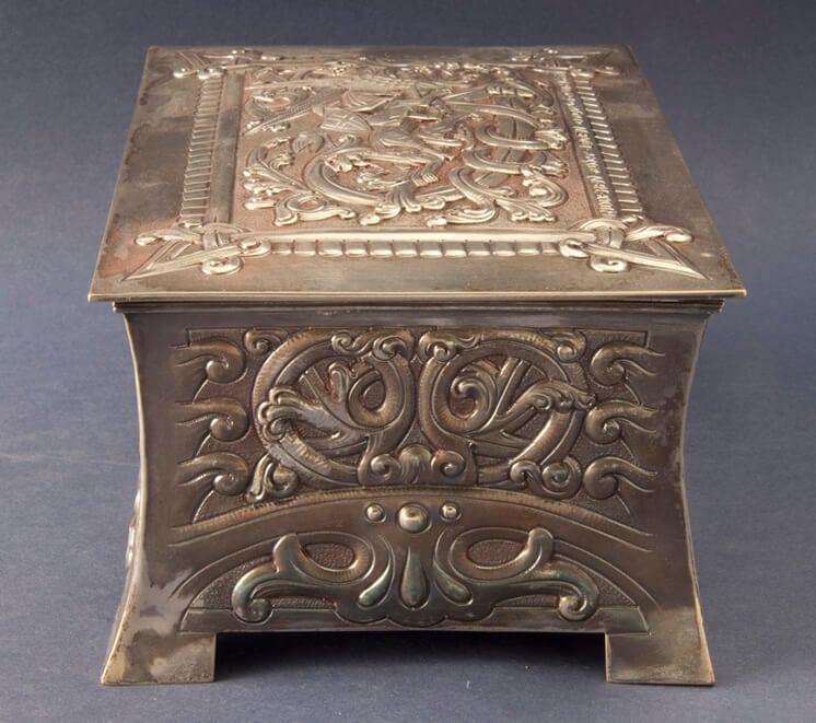 Sterling silver box replicate Viking saga motifs, side two - Norwegian Metalworking