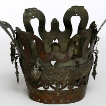 Bridal crown is made of two bands of metal that do not have discernible joins - Norwegian Metalworking