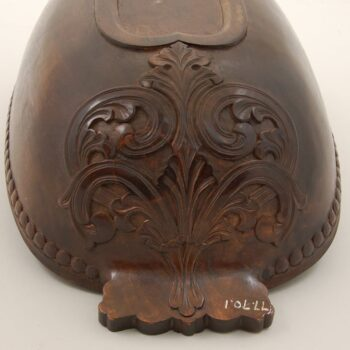 Ale Bowl with Acanthus carving under handle and spout handle- Decorative Woodcarving