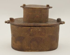 Stacked pair of oval bentwood boxes front - Decorative Woodcarving