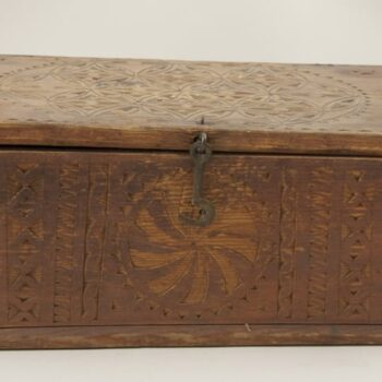 Needlework box with flat hinged cover with pegged corners front - Decorative Woodcarving