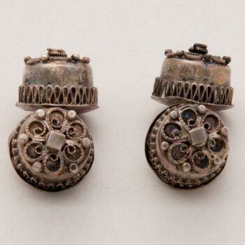 Cuff links with circular filigree motif on the top of the button - Norwegian Metalworking