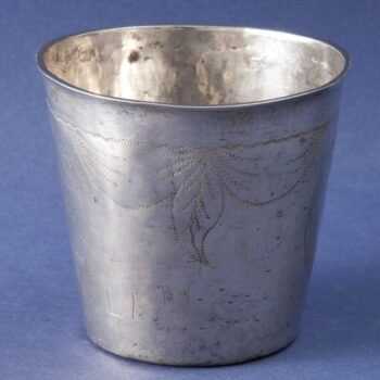 Beaker with engraved design of two medallions - Norwegian Metalworking