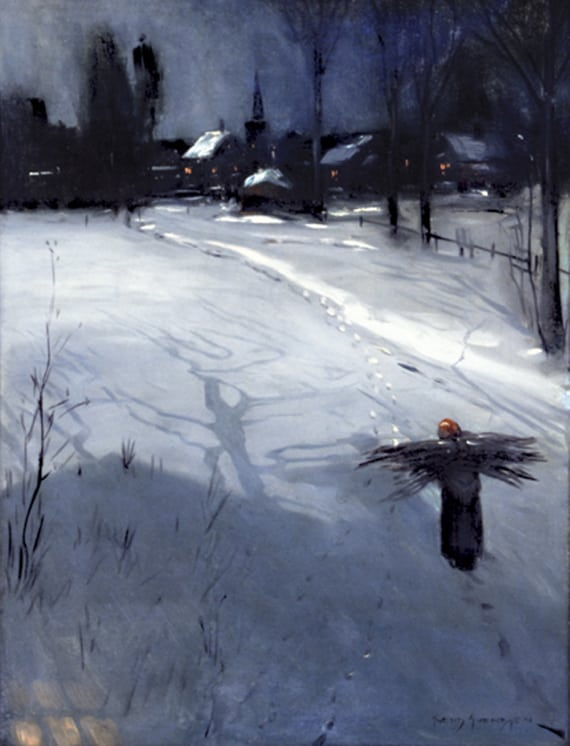 Faggot Gatherer on Snowy Road, Svend Svendsen - Fine Arts