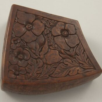 Front and back sides carved in flat relief floral design left side - Decorative Woodcarving