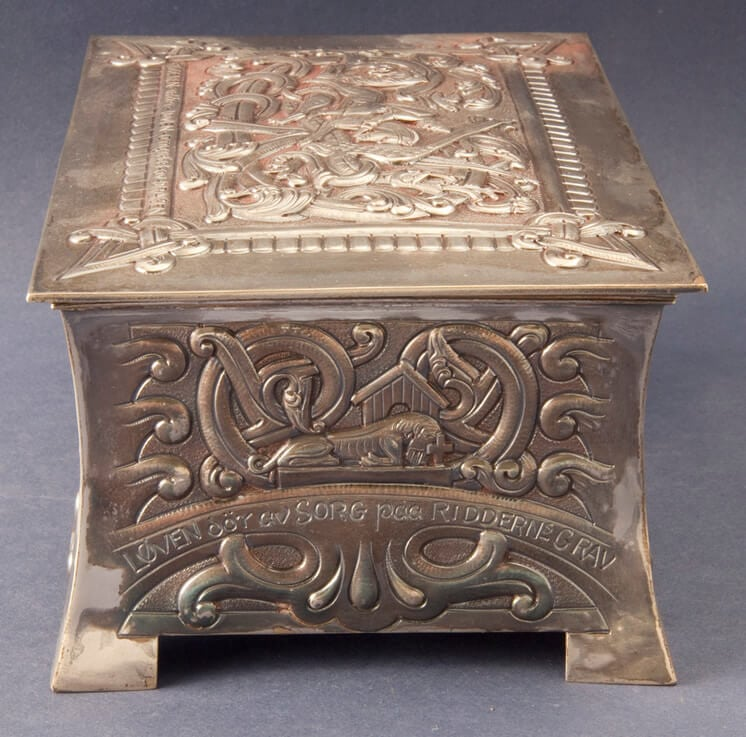 Sterling silver box replicate Viking saga motifs, side one - Norwegian Metalworking