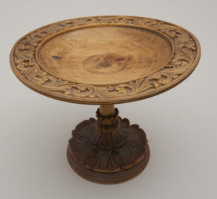 Turned piece with ornately carve motifs - Decorative Woodcarving