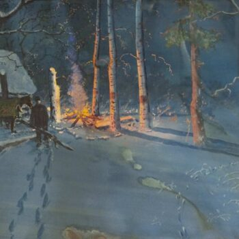 Evening Camp Scene, Gulbrand Sether- Fine Arts