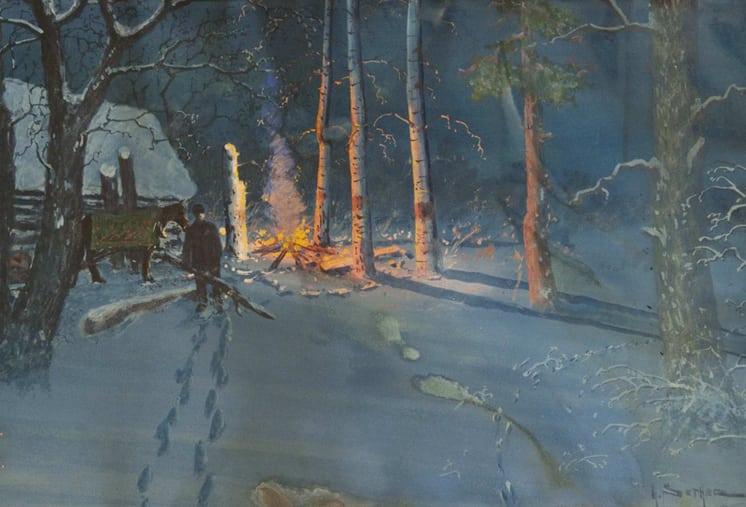 Evening Camp Scene, Gulbrand Sether- Fine Arts