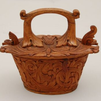 side of Small Bentwood Box with acanthus carving - Decorative Woodcarving
