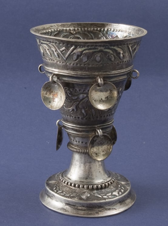 Beaker with two bands of engraved floral motifs against a priked background - Norwegian Metalworking