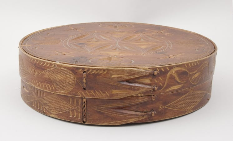 Bentwood box is laced together with birch root back - Decorative Woodcarving