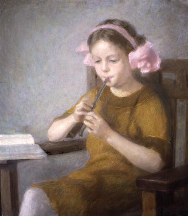 Girl with Flute, Marie Løkke - Fine Arts