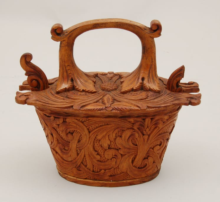 Back of Small Bentwood Box with acanthus carving - Decorative Woodcarving