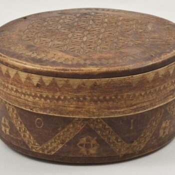 Bentwood box with finely laced join and pegged bottom and top Front - Decorative Woodcarving