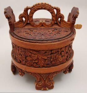 Round container of stave construction back - Decorative Woodcarving