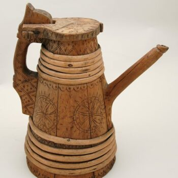 Stave contructed tankard with split twig bands side - Decorative Woodcarving