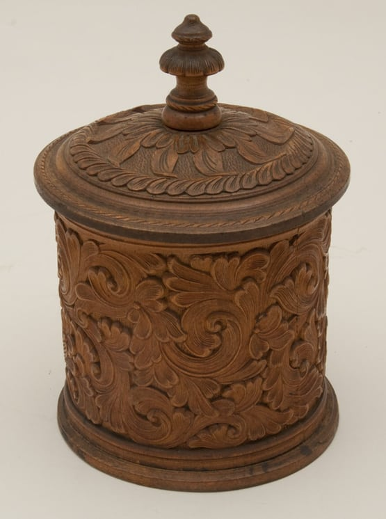 Tobacco jar with acanthus carving and fine linear detail Side - Decorative Woodcarving