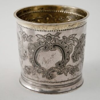 Cup with a gold wash in the interior and around the outflared rim - Norwegian Metalworking