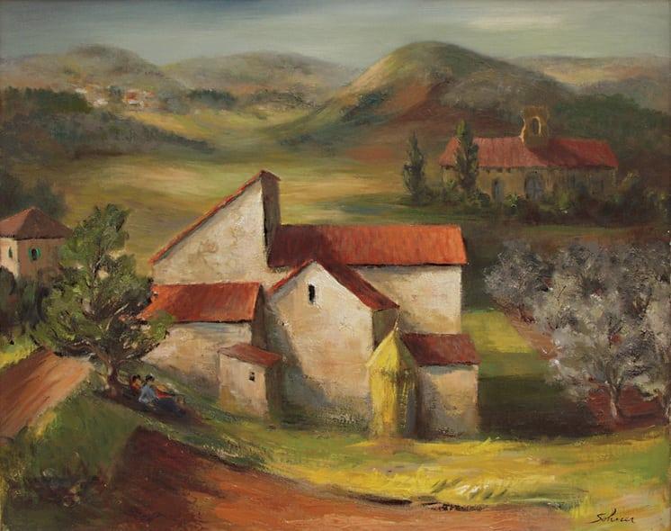 Spanish Village with Church, J. Theodore Sohner - Fine Arts