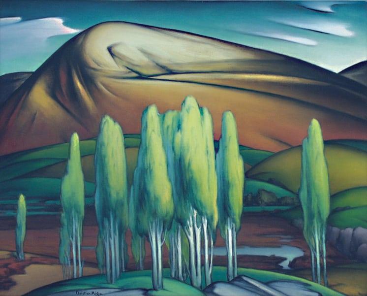 California Poplars, Christian Midjo, Norwegian-American Fine Arts, Oil Painting, Painting - Fine Arts