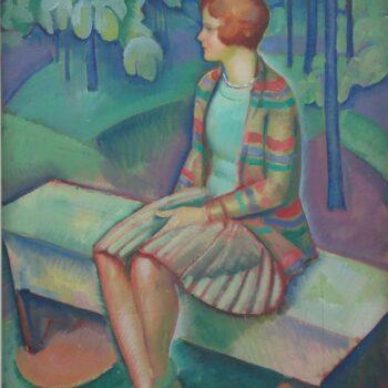 Woman Seated on Park Bench, Arild Weborg - Fine Arts