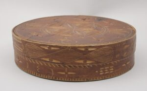 Bentwood box is laced together with birch root front - Decorative Woodcarving
