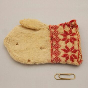 child's mitten, was done using fine two-ply wool