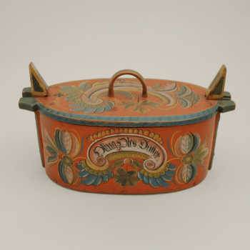 Bentwood box with Os style rosemaling from Voss, Norway - Roselmaling