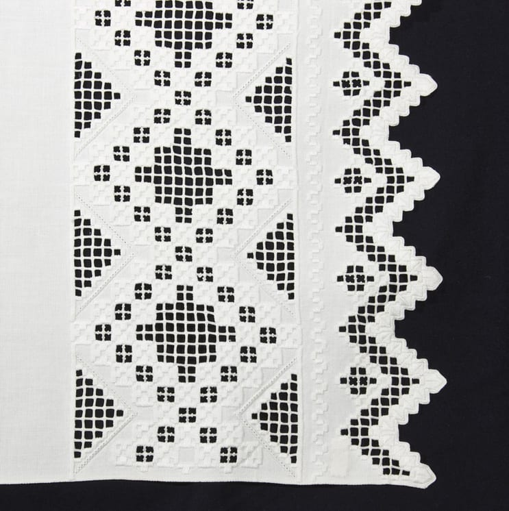 This table runner or decorative towel has well-executed Hardanger embroidery on each end - Textiles