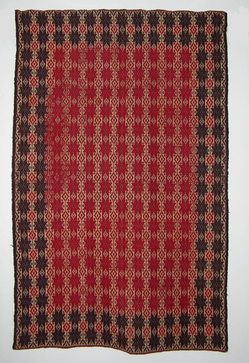 Coverlet with intricate vertical bands of eight-pointed starts and diamonds - Textiles