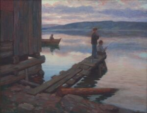 Boys Fishing, Herbjørn Gausta - Fine Arts