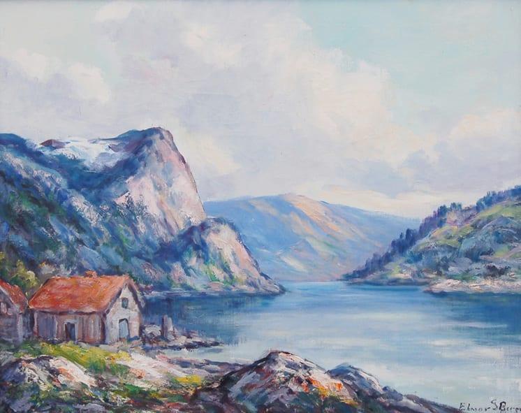 Norwegian Fjord Scene, Elmar Berge - Fine Arts