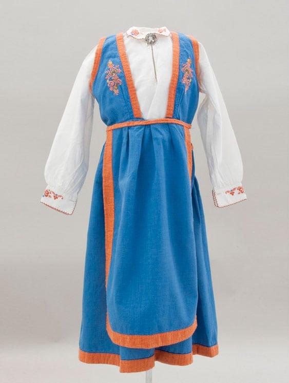 Dress with blue vest, a v-back, and orange trim - Textiles