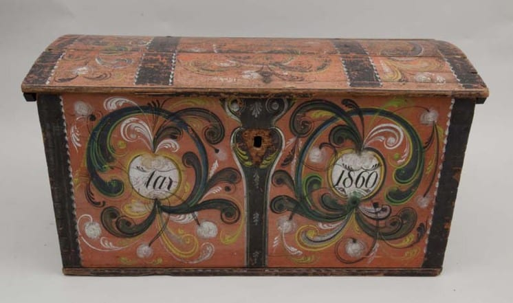 Front of trunk with Telemark style rosemaling painted on front and top - Rosemaling & Decorative Painting