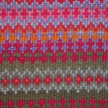 Coverlet with two-ply wool weft in yellow, orange, pink, red, purple, green and blue - Textiles