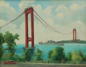 Construction of Verrazzono-Narrows Bridge, Bernhard Berntsen - Fine Arts