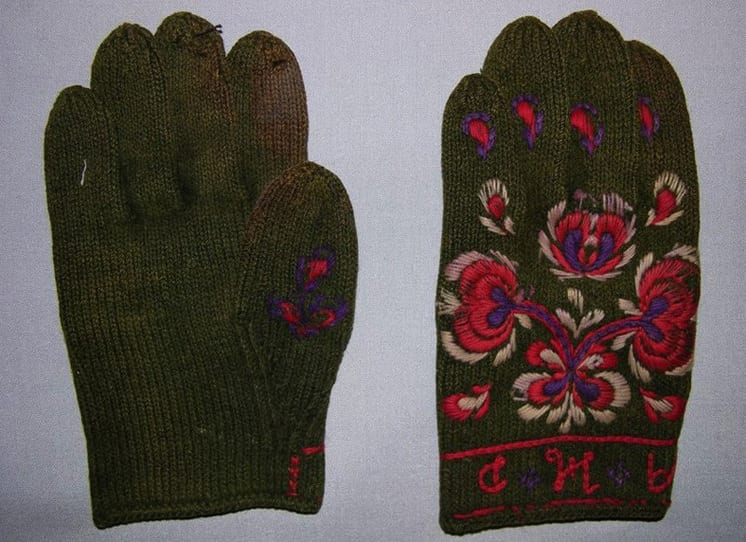 Gloves with satin stitch floral design is embroidered on the back - Textiles